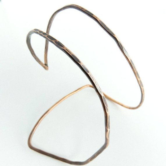 Mikelah - Geometric Triangle Open Copper Cuff Bracelet