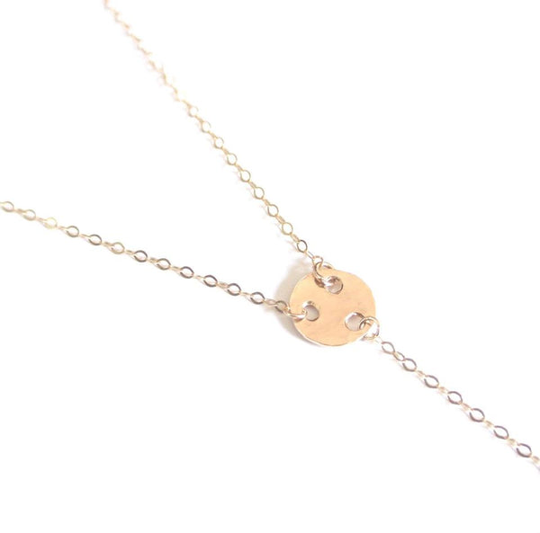 Carol - Mini Disc Gold Lariat Choker