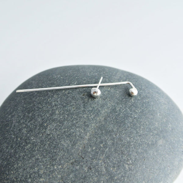 Mismatched Sterling Silver Stud And Threader Earrings