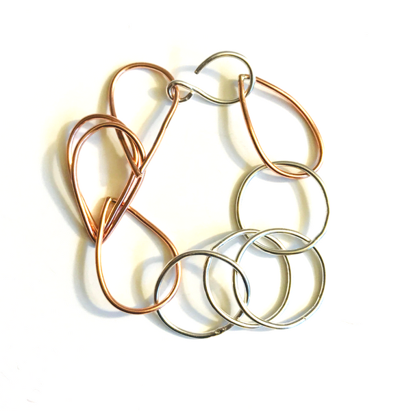 Mixed Metal Chunky Link Bracelet - Copper and Sterling Silver - Circle and Tear Links - Adjustable
