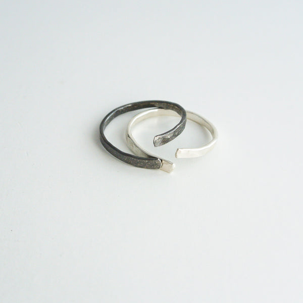 Nia - Oxidized Sterling Silver Stacking Ring Set Band