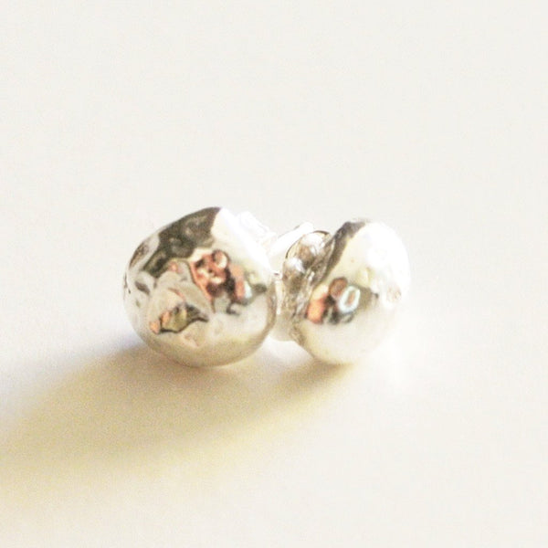 Pebble Shaped Sterling Silver Stud Earrings - 7 mm wide