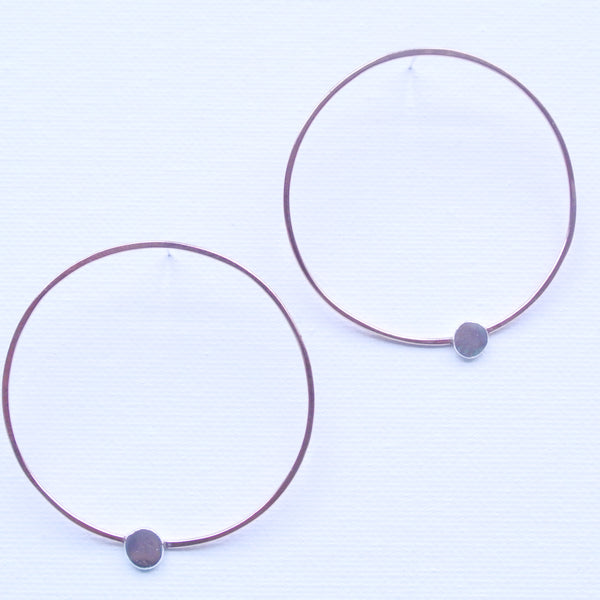 Pebble Sterling Silver Dot Copper Metal Hoop Earrings 2 inches Wide