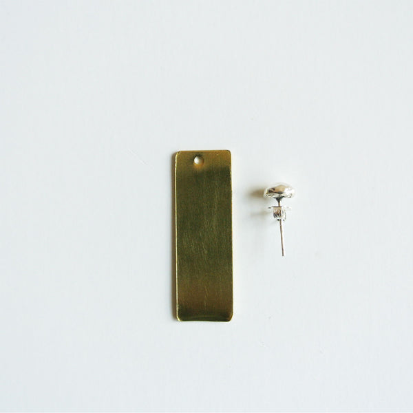 Pebble Sterling Silver Stud with Gold Rectangle Ear Jacket Earring