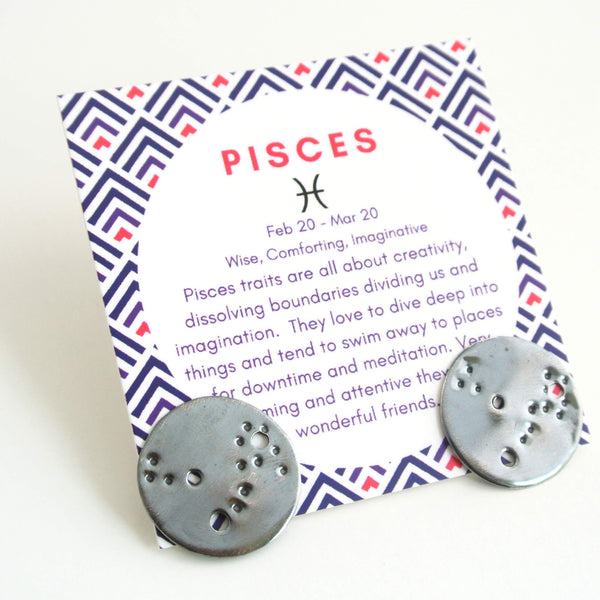 Pisces Zodiac Constellation Sterling Silver Disc Earrings