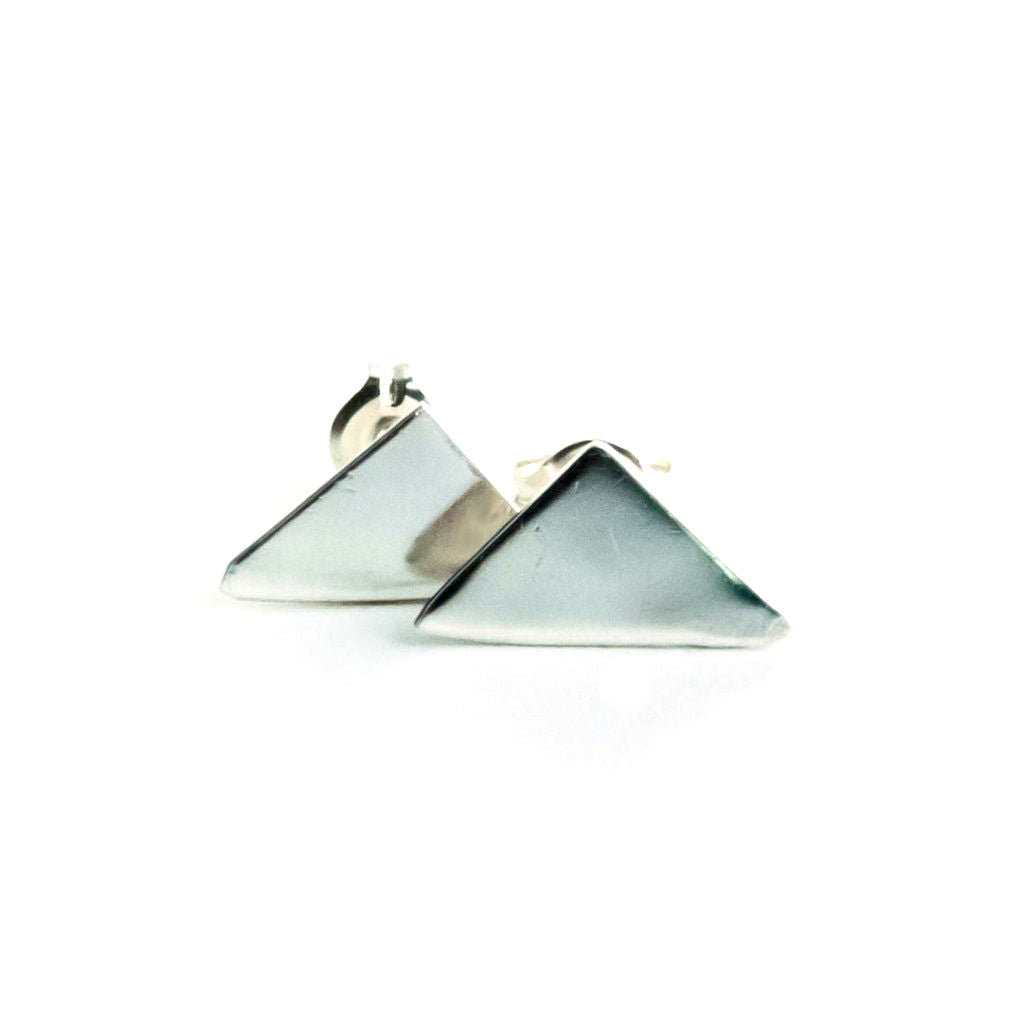 Rikkia - Sterling Silver Triangle Stud Earrings - The Pink Locket