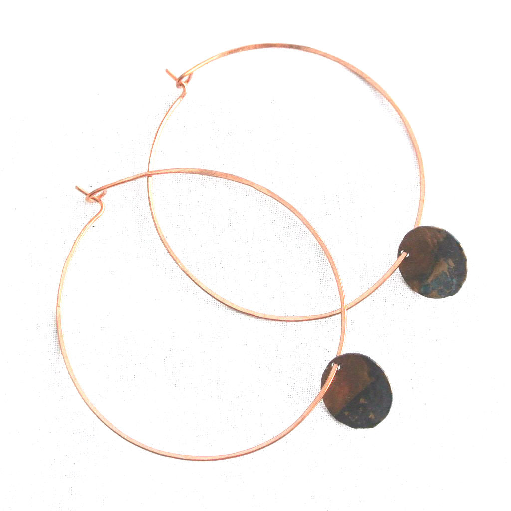 Rough It - Copper Hoop Earrings - The Pink Locket