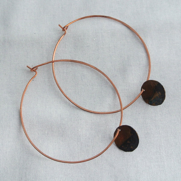 Rough It - Copper Hoop Earrings - The Pink Locket - 2