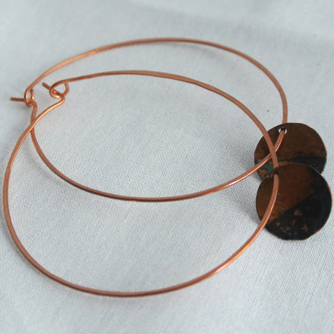 Rough It - Copper Hoop Earrings - The Pink Locket - 1