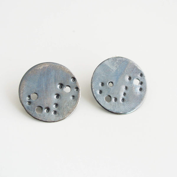 Scorpio Zodiac Constellation Sterling Silver Disc Earrings