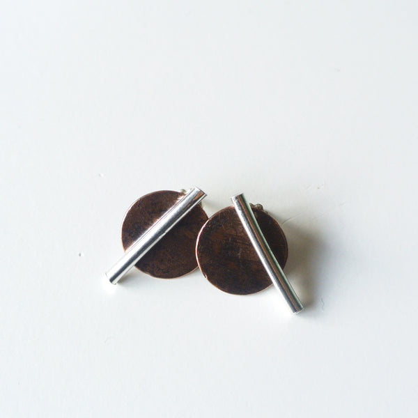 "Ear Jacket Climber Earrings - Two Tone Sterling Silver Bar Stud With Oxidized Copper Back 1/2"" Wide - Mixed Metal Jewelry - The Pink Locket"