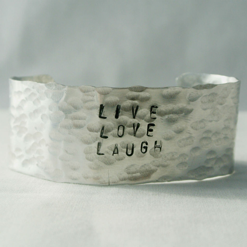 Hand Stamped Silver Cuff Bracelet - The Pink Locket