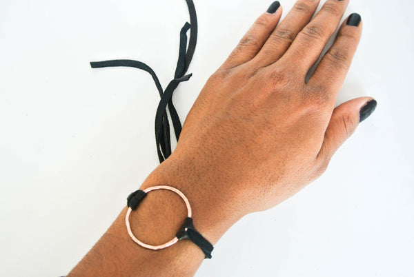 Small Black Leather Wrap Bracelet With Copper Circle