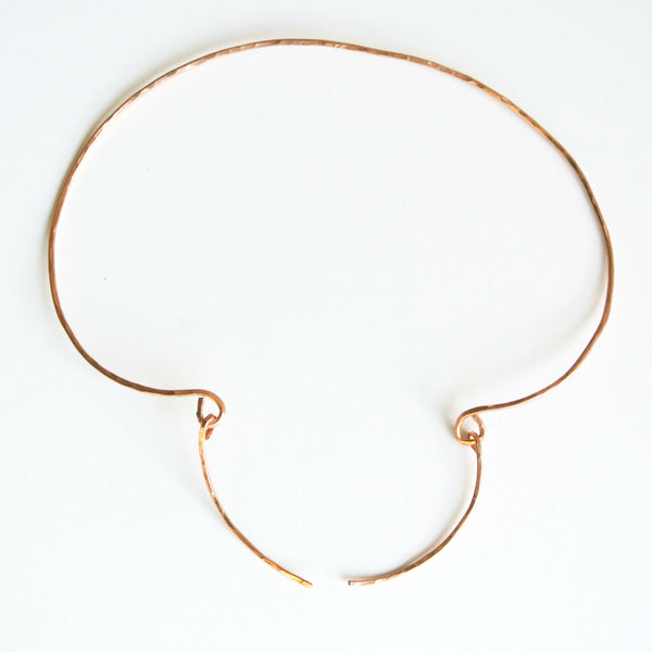 Spear Hammered Copper Collar Choker Necklace