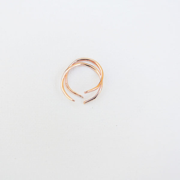 Nia - Copper Sterling Silver Stacking Ring Set Band - The Pink Locket - 2