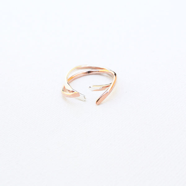 Nia - Copper Sterling Silver Stacking Ring Set Band - The Pink Locket - 1