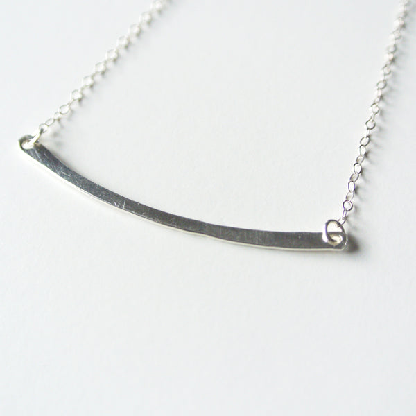 Curved Sterling Silver Hammered Bar Necklace - 2 inches long - The Pink Locket
