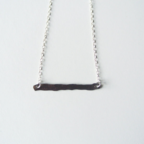 Sterling Silver Dark Oxidized Mini Bar Necklace - 1 inch long - The Pink Locket