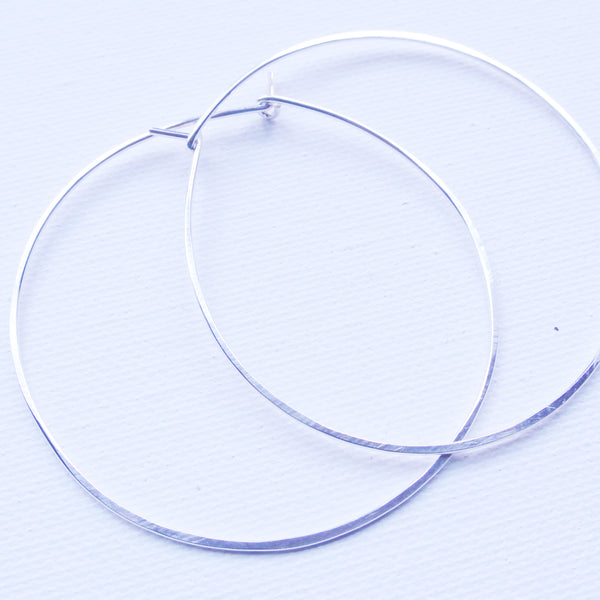 "Sterling Silver Metal Large Hoop Earrings - 2 1/4"" Wide"