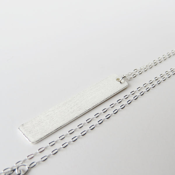 Sterling Silver Matte Vertical Bar Necklace - The Pink Locket - 3