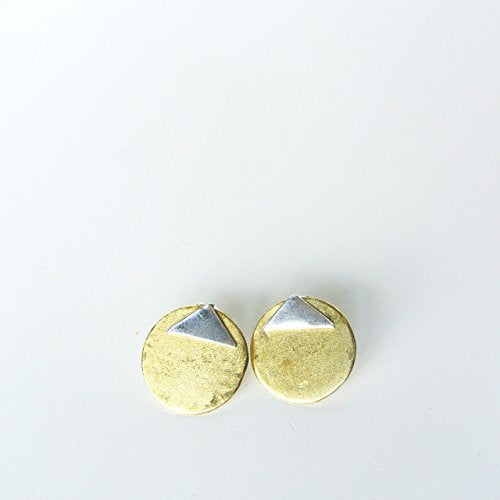 "Sterling Silver and Brass Gold Ear Jacket Earrings - Triangle Stud 5/8"" Wide - Mixed Metal - Matte"