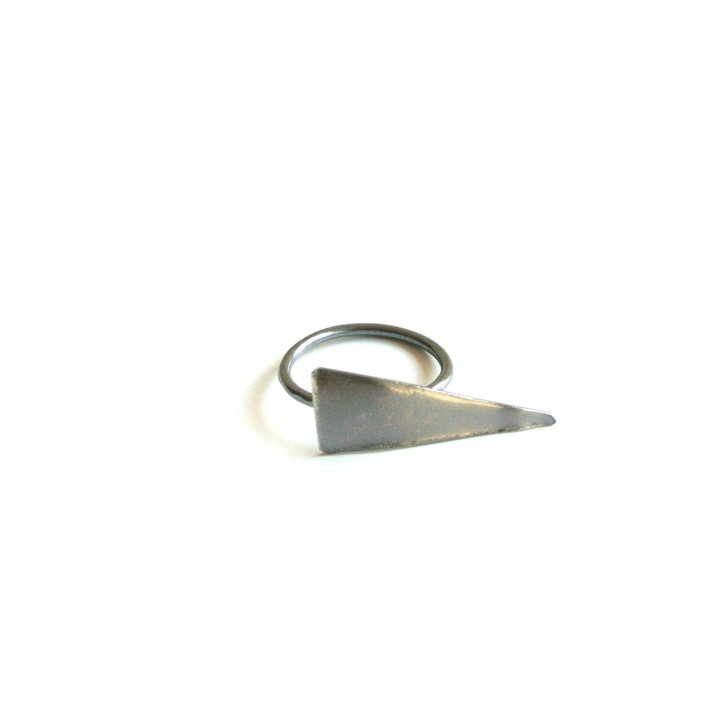 "Tashna - Oxidized Sterling Silver Statement Triangle Ring - 1"" Wide"