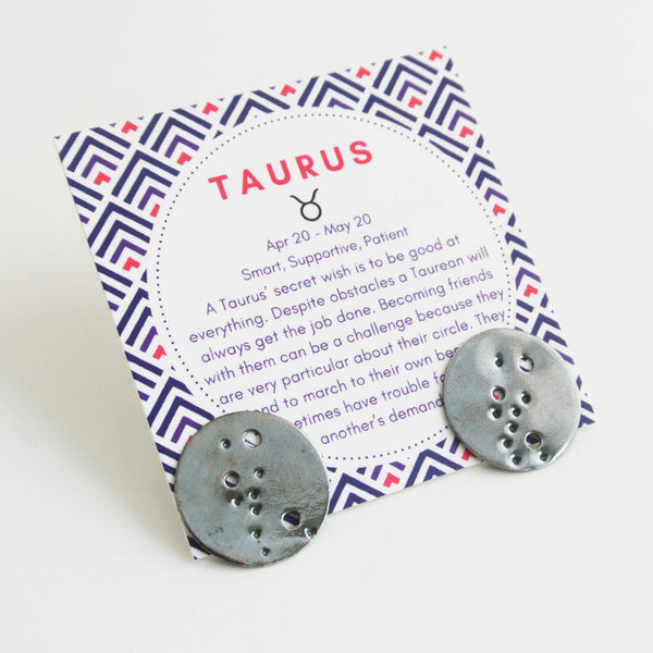 Taurus Zodiac Constellation Sterling Silver Disc Earrings