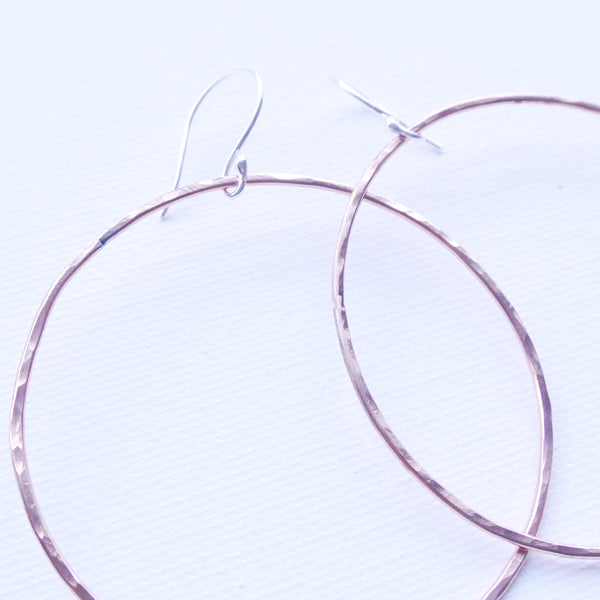 Large Hammered Textured Copper Round Hoop Earrings - Sterling Silver Ear Wire