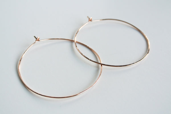 Textured Hammered Rose Gold Hoop Earrings - 14kt Gold Filled