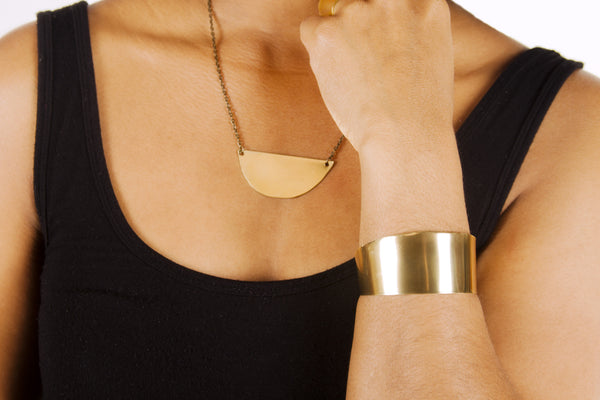 Malene - Half Circle Brass Cuff Bracelet - The Pink Locket