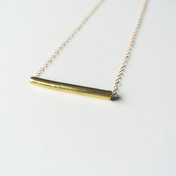 Tia - Brass Gold Tube Necklace on 14kt Gold Filled Chain - 1 1/4 inch long tube - Gold Bar - The Pink Locket