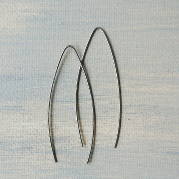 Titanium Tear Shape Dangle Earrings - 2 inches long