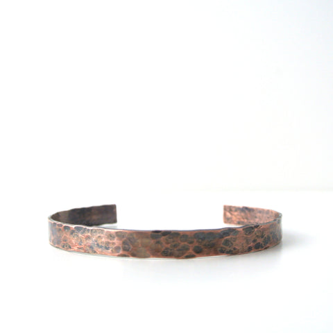 Urban - Copper and Black Brushed Hammered Cuff Bracelet for Men - The Pink Locket
