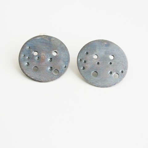 Virgo Zodiac Constellation Sterling Silver Disc Earrings
