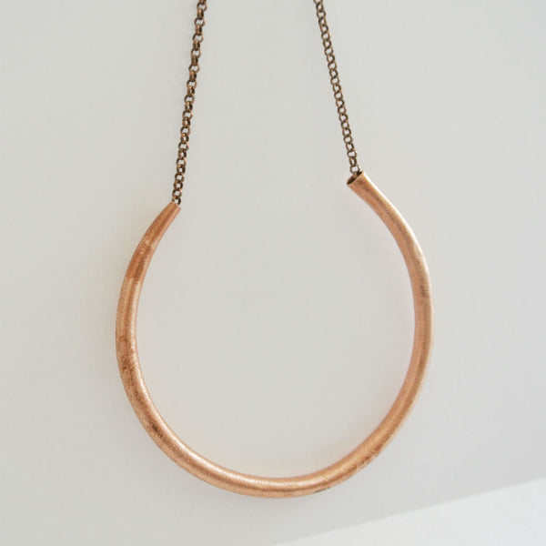 Xahria - Open Circle Copper Statement Pendant Necklace - The Pink Locket - 2