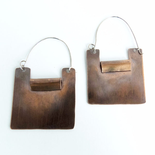 Yanira - Geometric Copper Square Statement Earrings