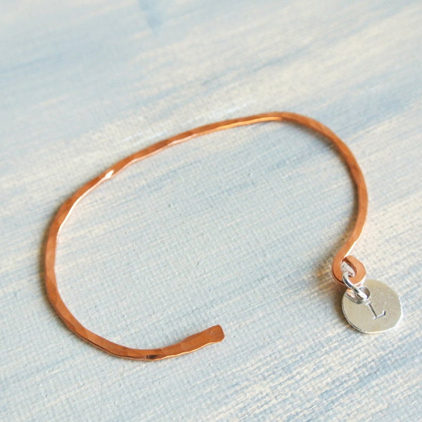Initial Letter Mixed Metal Copper and Sterling Silver Charm Cuff Bracelet - Hammered - Recycled