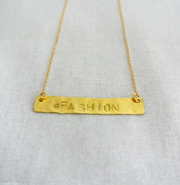 Hand Stamped Gold Bar Necklace - Horizontal Gold Bar - The Pink Locket - 3