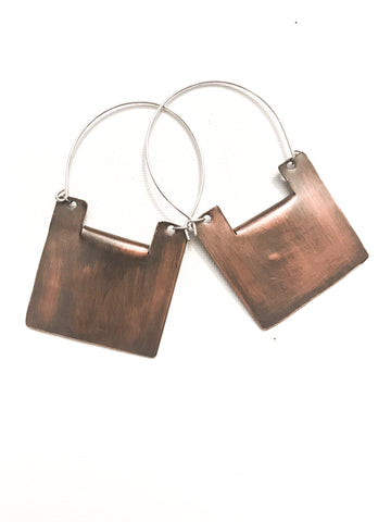 Yanira - Geometric Copper Square Statement Earrings - The Pink Locket