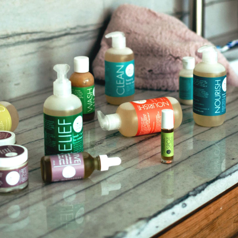 Say goodbye to dryness when you use all of these Bloom Naturals products on the bathroom counter.