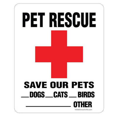 Emergency Pet Rescue Decal