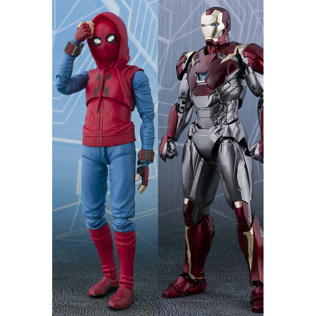 S.H. Figuarts Spiderman Homecoming Home Made Suit Ver & Iron Man Mark 47 TamashiWeb Exclusive