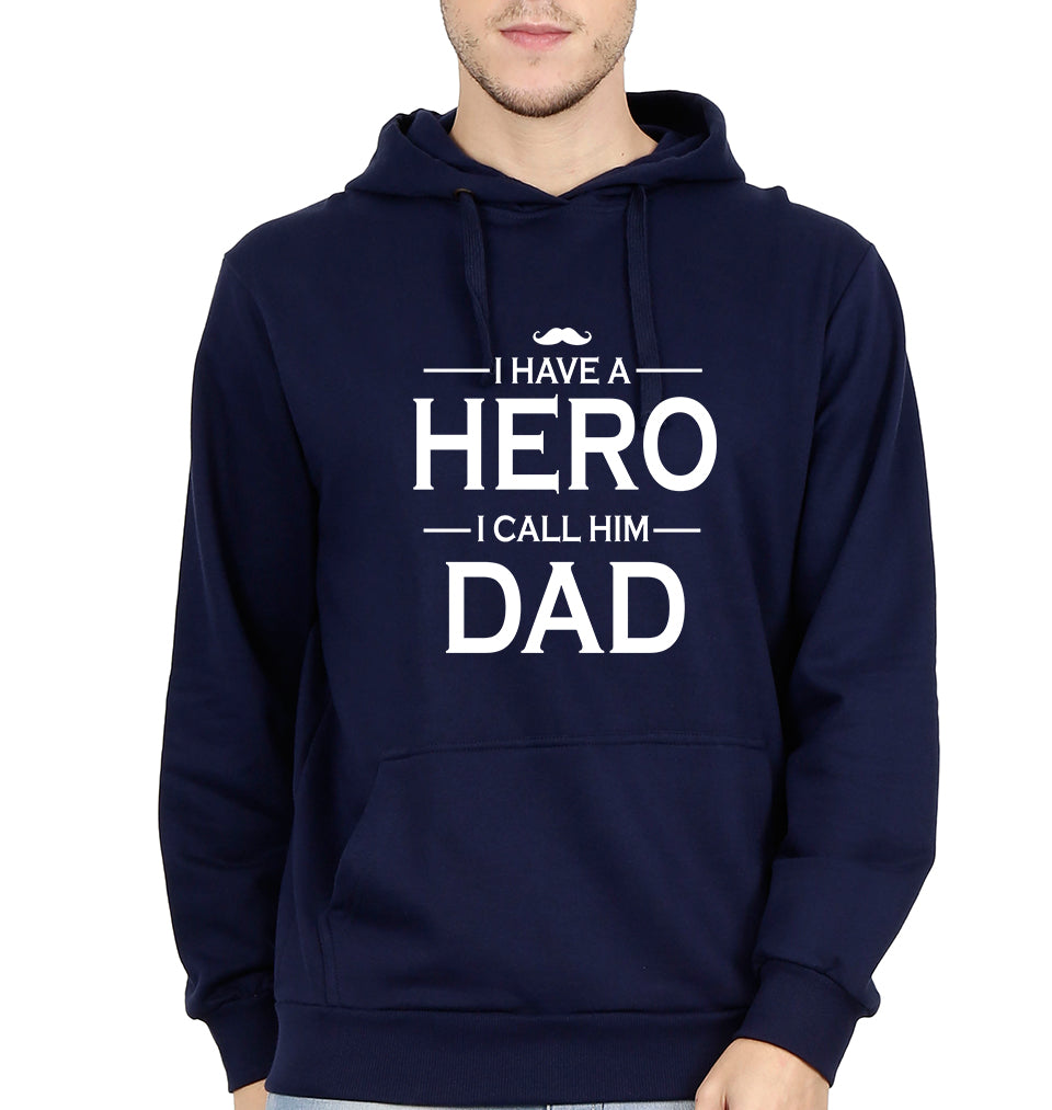I Have Dad I Call Him Hero Hoodie for Men-S(40 Inches)-Navy Blue-ektarfa.com