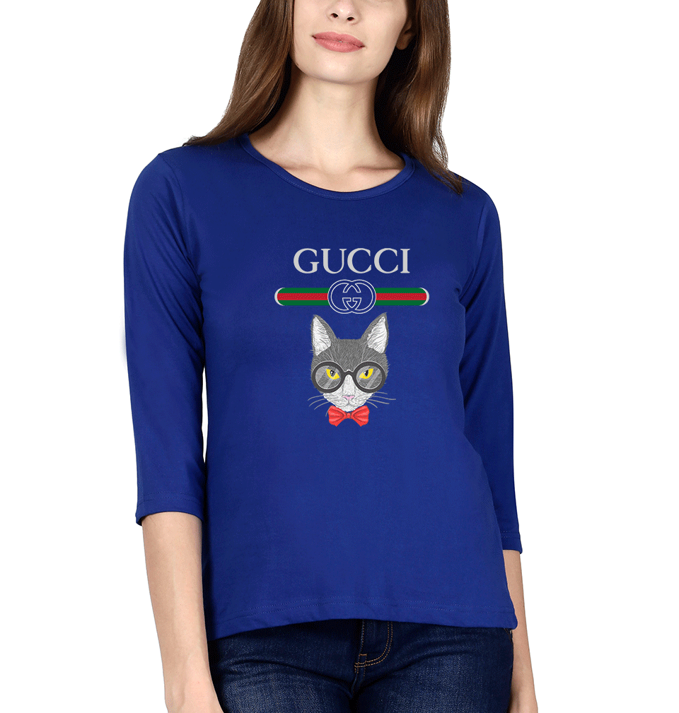 Gucci Cat Full Sleeves T-Shirt for Women