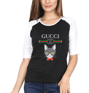 Gucci Cat Full Sleeves Raglan T-Shirt for Women