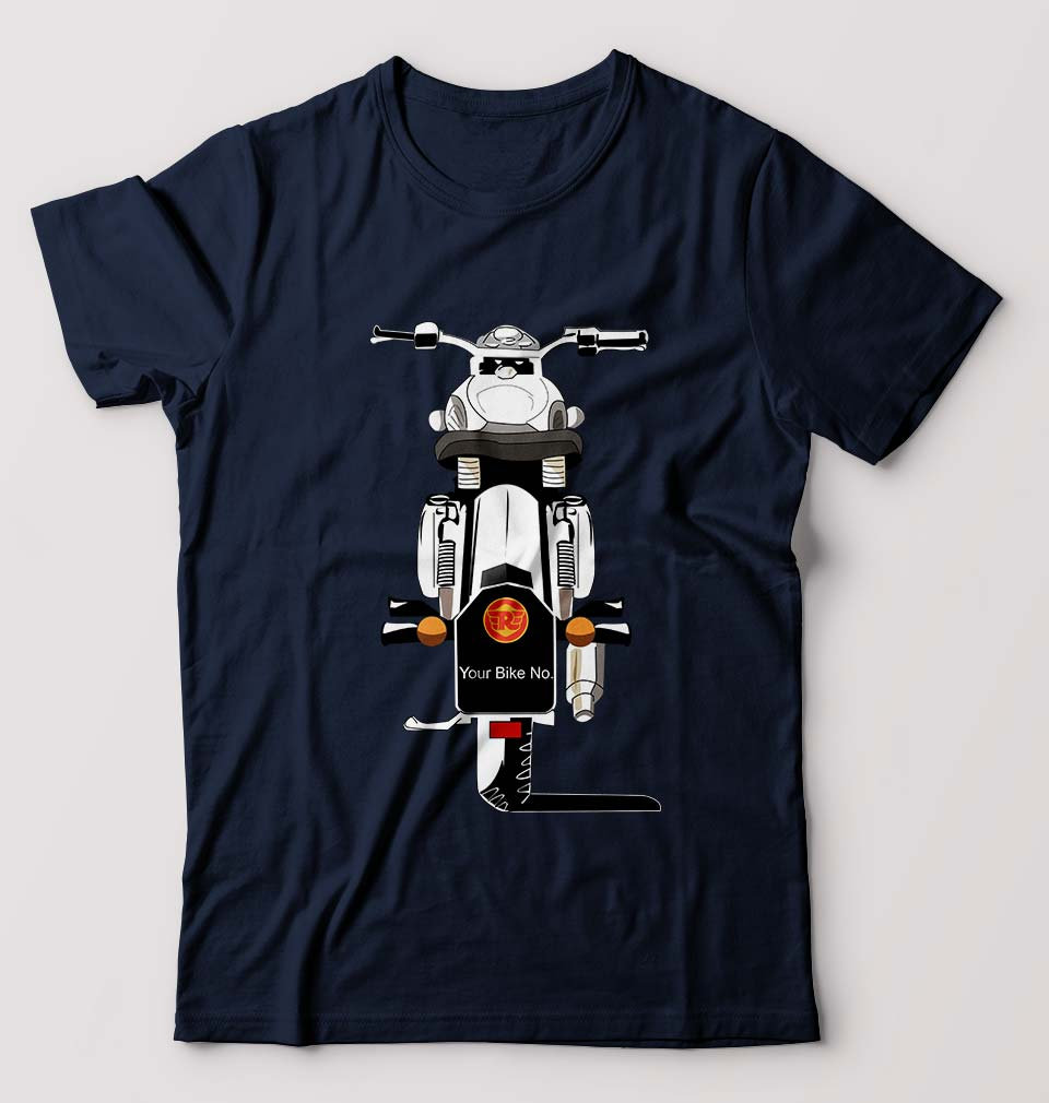 Bullet With Your Number T-Shirt for Men-S(38 Inches)-Navy Blue-ektarfa.com