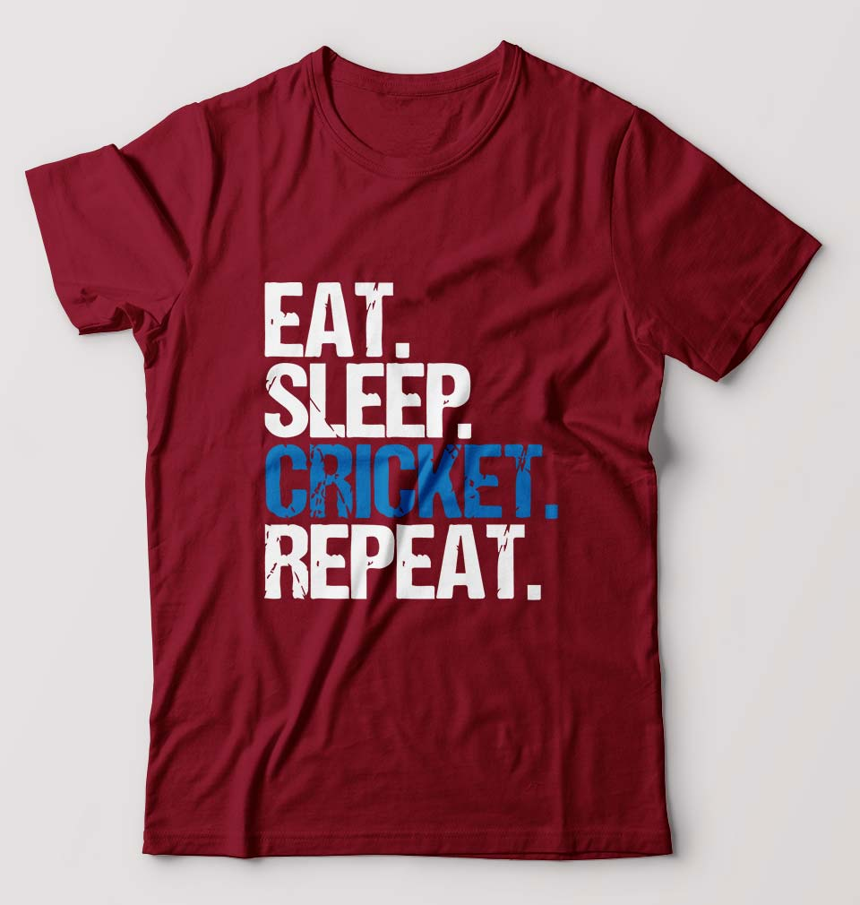 CRICKET Eat Sleep Cricket Repeat T-Shirt for Men-S(38 Inches)-Maroon-ektarfa.com