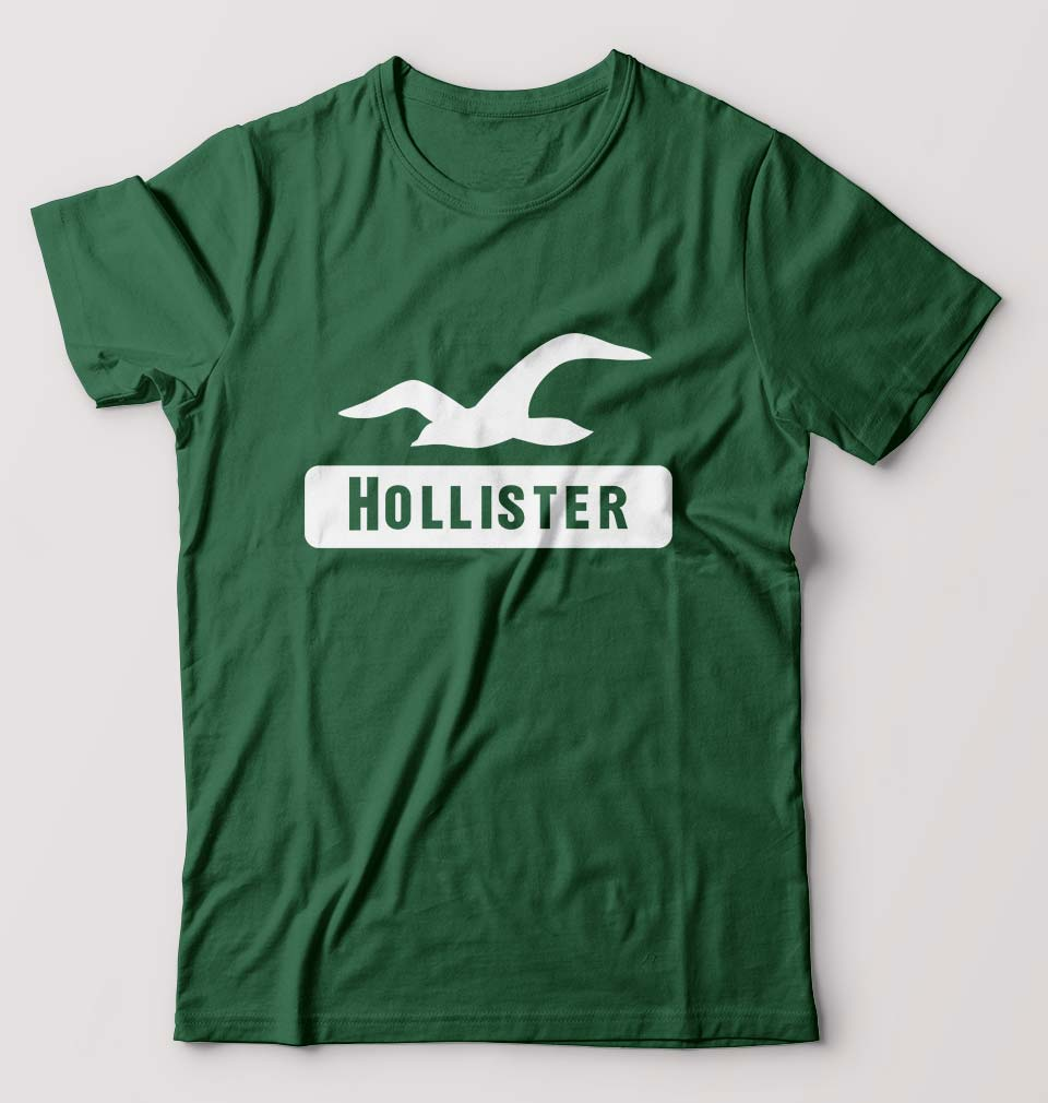 Hollister T-Shirt for Men-S(38 Inches)-Bottle Green-ektarfa.com