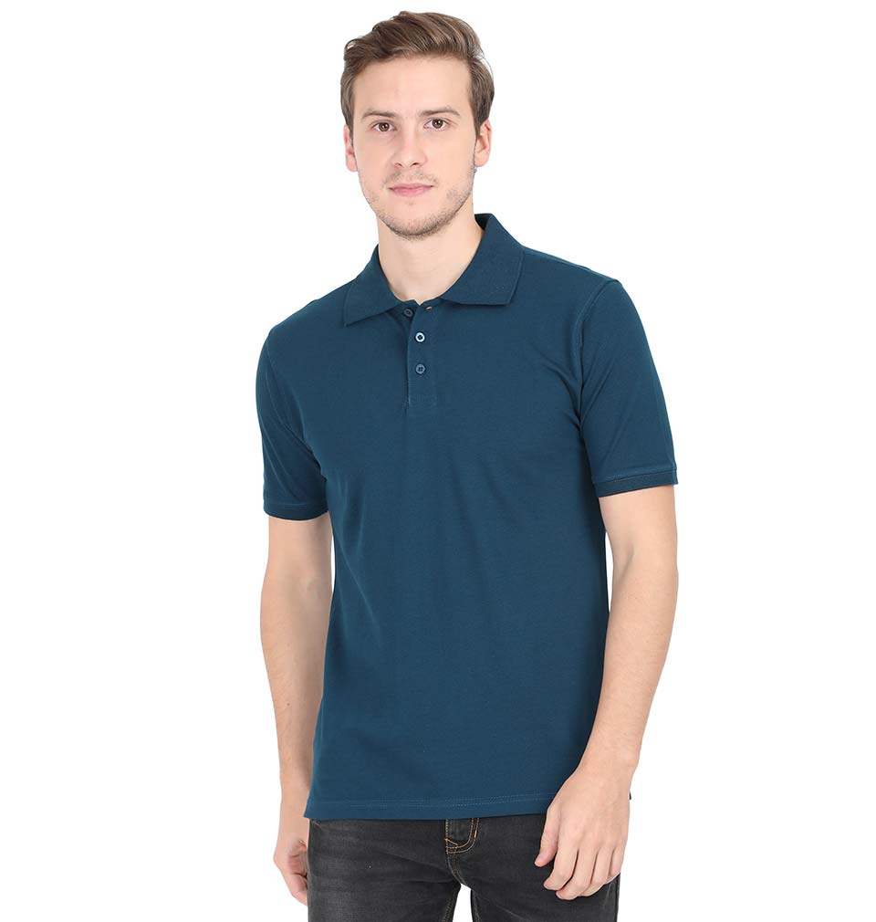 Plain Petrol Blue Polo/Collar T-Shirt For Men