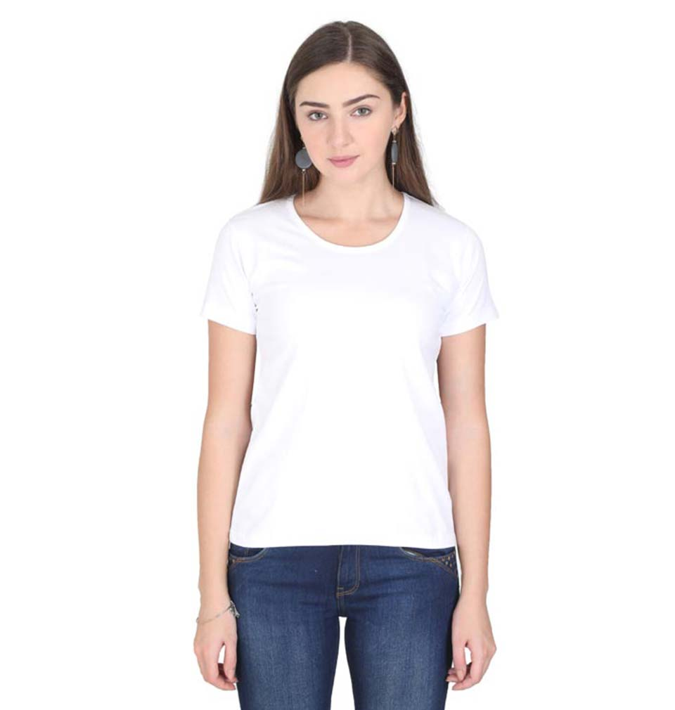 Plain White Half Sleeves T-Shirt for Women